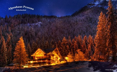 Restaurant Alpenhaus Prossau im Kötschachtal in Bad Gastein, Gasteinertal im Winter am Abend